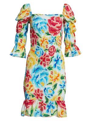 Mariana Shirred Silk Dress