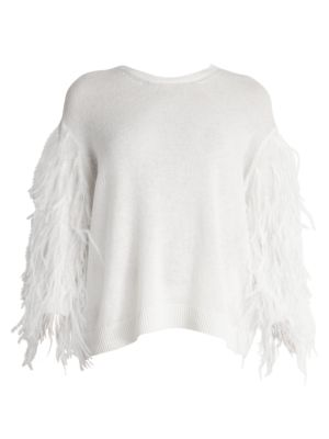 Ostrich Feather-Sleeve Virgin Wool & Cashmere Sweater