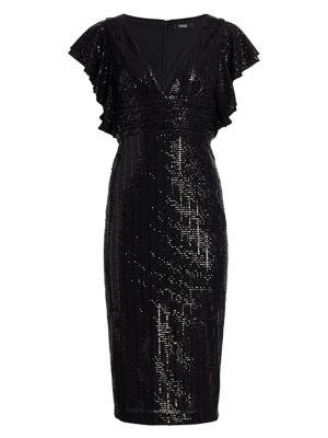 Sequin Flutter Sleeve Sheath Dress