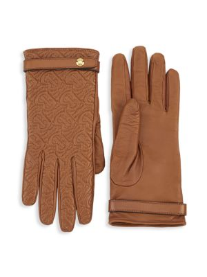 Quilted TB Monogram Leather Gloves