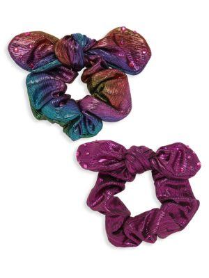 2-Piece Crystal Embellished Scrunchies
