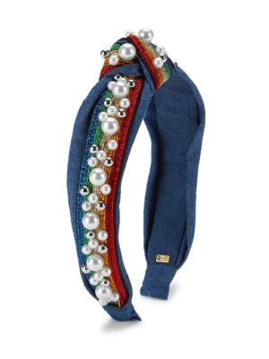 Rainbow Faux Pearl & Crystal Embellished Headband