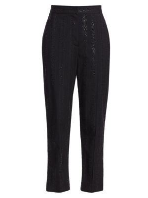 Sequin Stripe Wool-Blend Tapered Pants