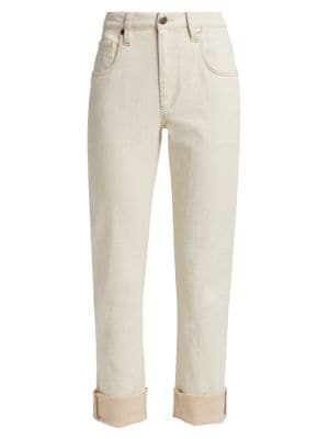 High-Rise Garment-Dyed Cuff Straight-Leg Jeans