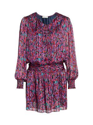 Gessie Floral Print Silk Peasant Dress