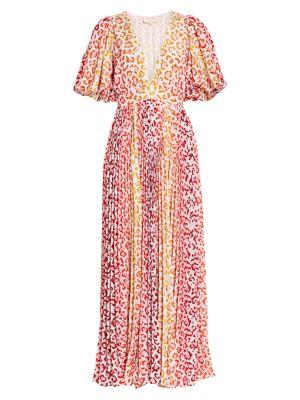 Avana Leopard Print Pleated Maxi Dress