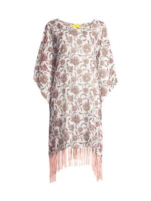 Vine Floral Cona Cotton Poncho Cover-Up