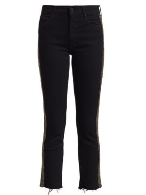 Rascal Mid-Rise Ankle Fray Embellished Jeans