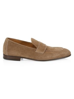 Suede Structured Penny Loafers
