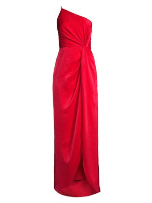 Draped Twill One-Shoulder Gown