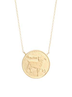 Sylas 14K Gold Vermeil Capricorn Medallion Necklace