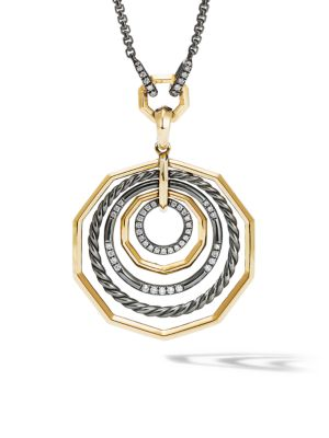 Stax 18K Yellow Gold, Sterling Silver and Pavé Diamond Pendant Necklace