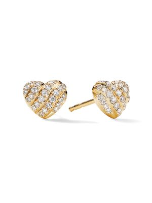 Heart Stud Earrings in 18K Yellow Gold with Pavé Diamonds