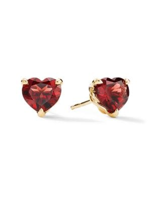 Cable Heart Valentine's Day 18K Yellow Gold & Garnet Stud Earrings
