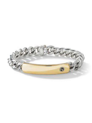 Belmont Curb Link Sterling Silver & 18K Yellow Gold ID Bracelet