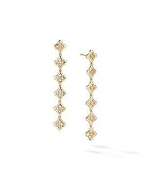 Long Drop Earrings In 18K Yellow Gold With Diamonds