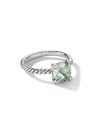Châtelaine® Ring with Prasiolite & Diamonds