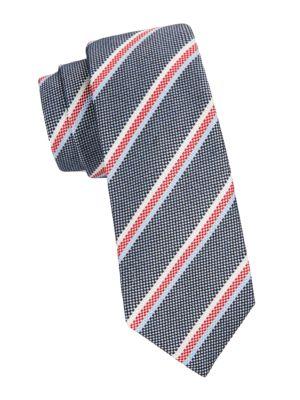 Check Stripe Silk Tie