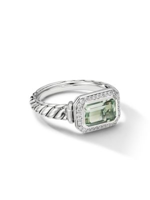 Novella Sterling Silver, Diamond & Prasiolite Ring