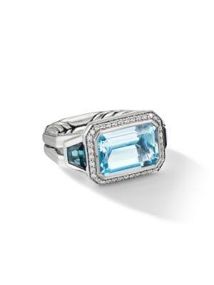 Novella Sterling Silver, Diamond & Mixed Topaz 3-Stone Ring