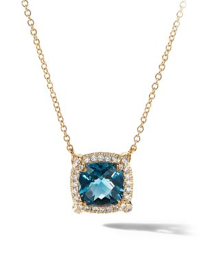 Petite Châtelaine® Pavé Bezel Pendant Necklace in 18K Yellow Gold with Gemstone