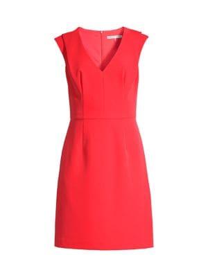 Fiery V-Neck Pleated Dress