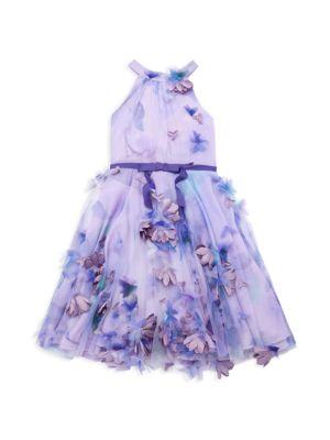 Little Girl's & Girl's 3D Floral Halter Dress