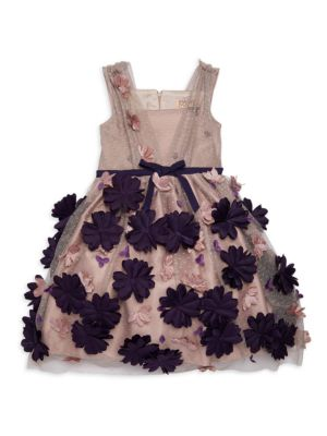 Little Girl's & Girl's Floral Appliqué Tulle A-Line Dress