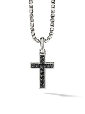 The Pavé Collection Sterling Silver & Pavé Black Diamond Cross Enhancer Pendant