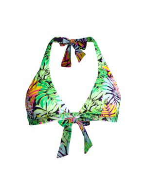Fleche Tropical-Print Bikini Top