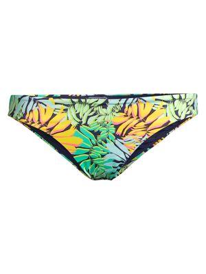 Frise Tropical Leaf-Print Bikini Bottom