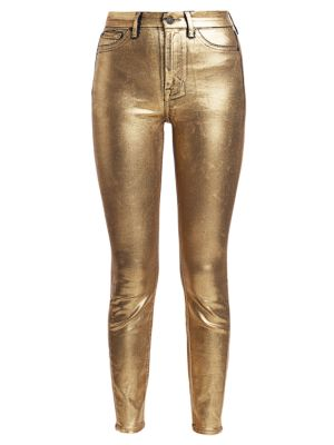 High-Rise Metallic Ankle Jeans