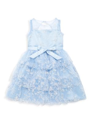 Little Girl's Valencia Floral Bow Tiered Dress