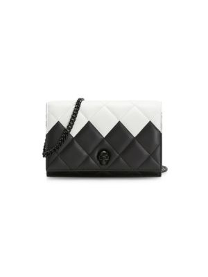 Small Skull Two-Tone Quilted Leather Crossbody Bag