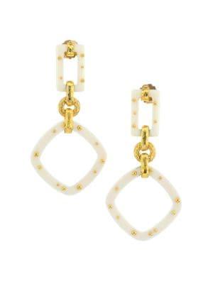 Escale 24K Goldplated & Acetate Geometric Drop Earrings
