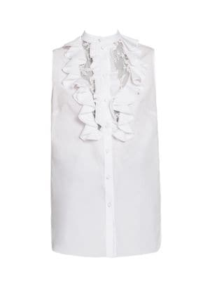 Lace Front Ruffled Blouse