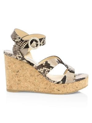 Aleili Snakeskin-Embossed Leather Cork Wedges