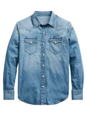 Western Denim Button-Down Shirt
