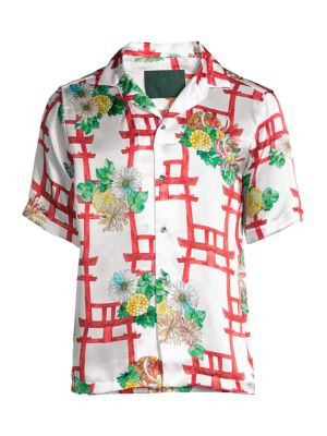 Japan Red Flower Print Silk Sport Shirt