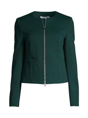 Jaxine Structured Jersey Houndstooth Jacket