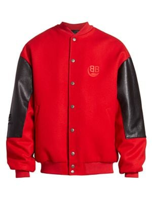 College Wool & Leather Bomber Jacket