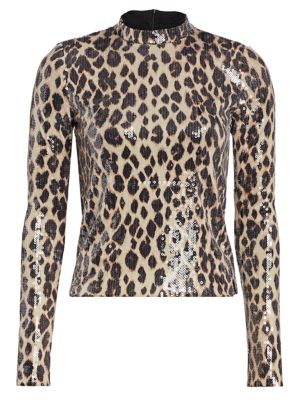 Marshall Sequin Leopard Print Mockneck Top