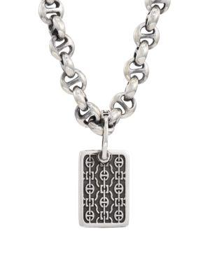 Petite Rectangle Lace Sterling Silver Pendant