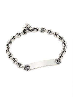 Open-Link Sterling Silver & Diamond Monogram Bracelet