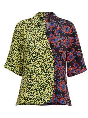 Hawaiian Mixed Print Bowling Shirt