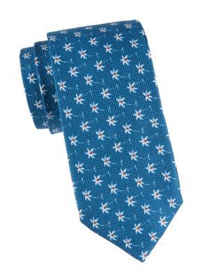 Floral Cotton-Blend Tie