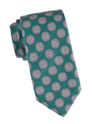 Geometric Floral Silk Tie