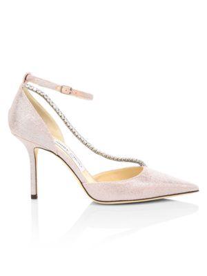 Talika Embellished Metallic d'Orsay Ankle-Strap Pumps