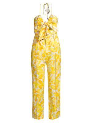 Rockpool Floral Print Pintuck Linen-Blend Jumpsuit