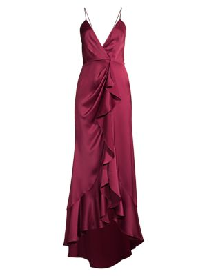 Elsie Ruffle Satin Gown
